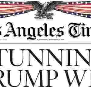 """09.nov.2016 - O jornal americano Los Angeles Times traz a manchete """"chocante vitória de Trump"""" - Reprodução"""