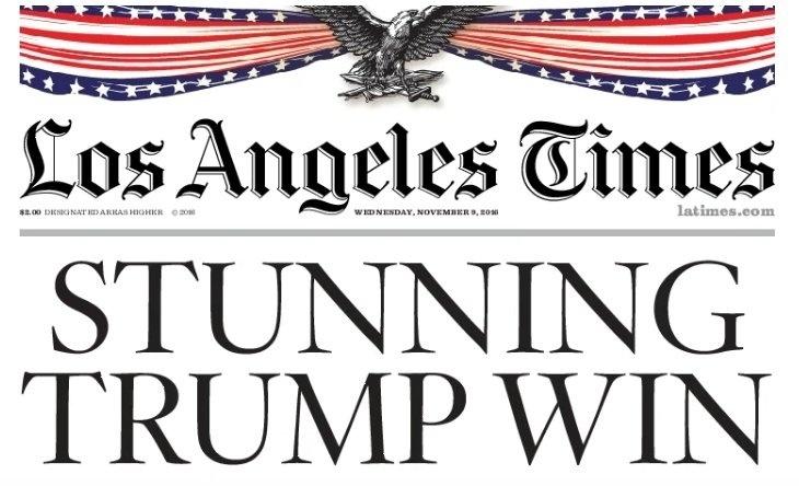 """09.nov.2016 - O jornal americano Los Angeles Times traz a manchete """"chocante vitória de Trump"""""""