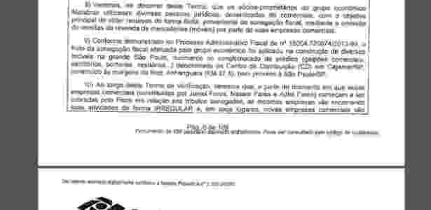 Termo de verificação em que a Receita Federal acusa os sócios de irregularidades - Reprodução - Reprodução
