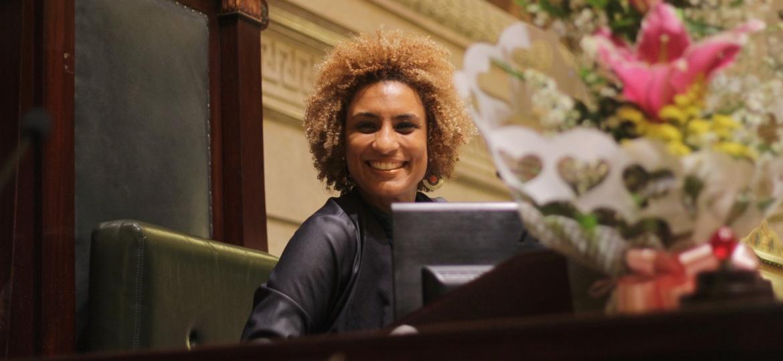 A vereadora Marielle Franco (PSOL-RJ) em cerimônia no último dia 8 de março, Dia Internacional da Mulher - Reprodução/Facebook