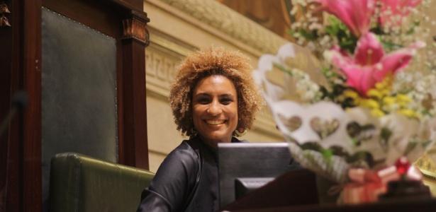 A vereadora Marielle Franco (PSOL-RJ) em cerimônia no último dia 8 de março
