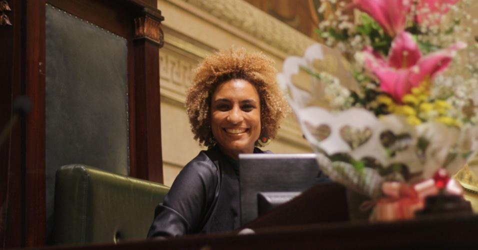 8.mar.2018 - A vereadora Marielle Franco (PSOL-RJ) em cerimônia no último dia 8 de março