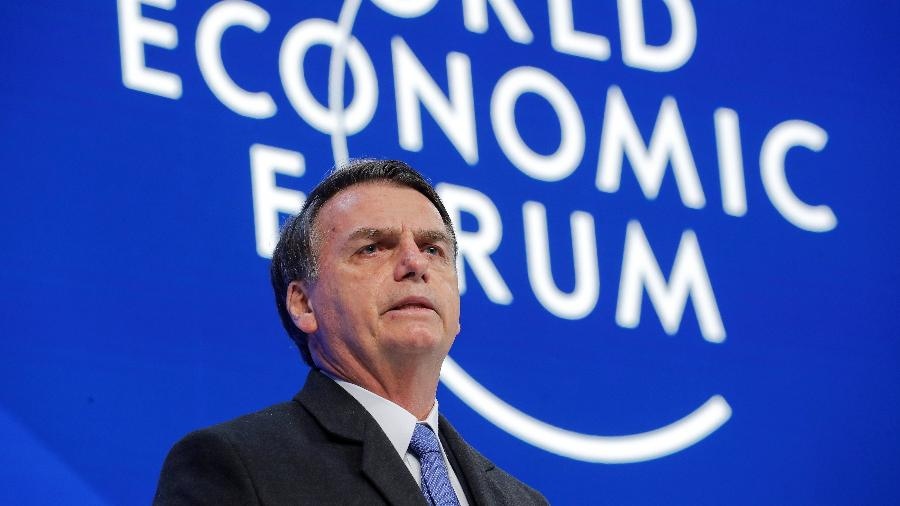 22.jan.2019 - Presidente Jair Boslonaro discursa no Fórum Econômico Mundial em Davos, na Suíça - ARND WIEGMANN/REUTERS
