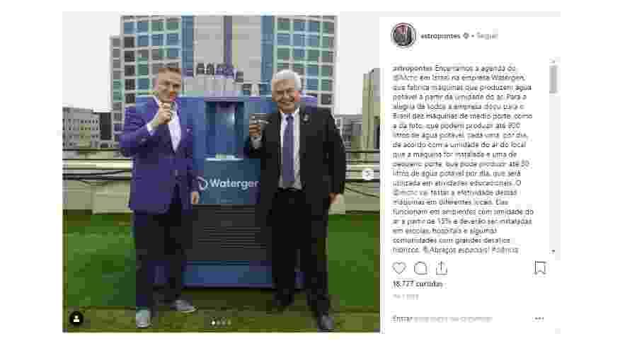 O ministro Marcos Pontes (à direita) divulga equipamento israelense que produz água a partir da umidade do ar em seu Instagram - Reprodução/Instagram Marcos Pontes