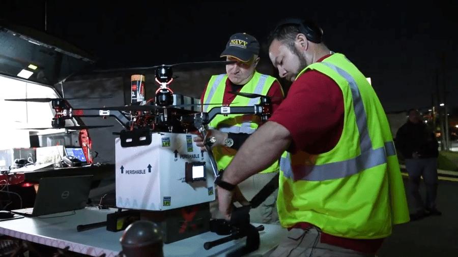 Pesquisadores usam drone para transportar rim para mulher com problemas renais - Divulgação/Universidade de Maryland