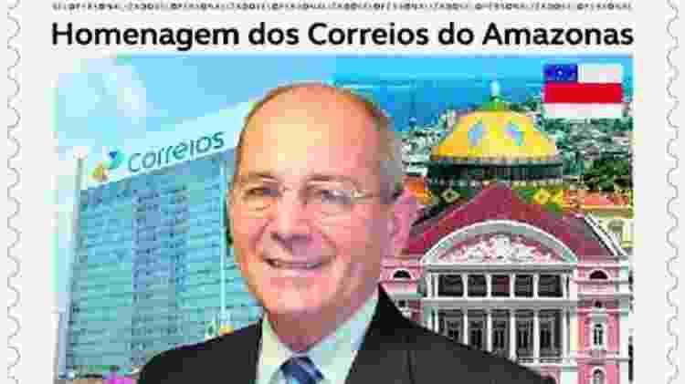 Selo com a imagem do general Juarez Cunha, presidente dos Correios - Reprodução/Estadão Conteúdo