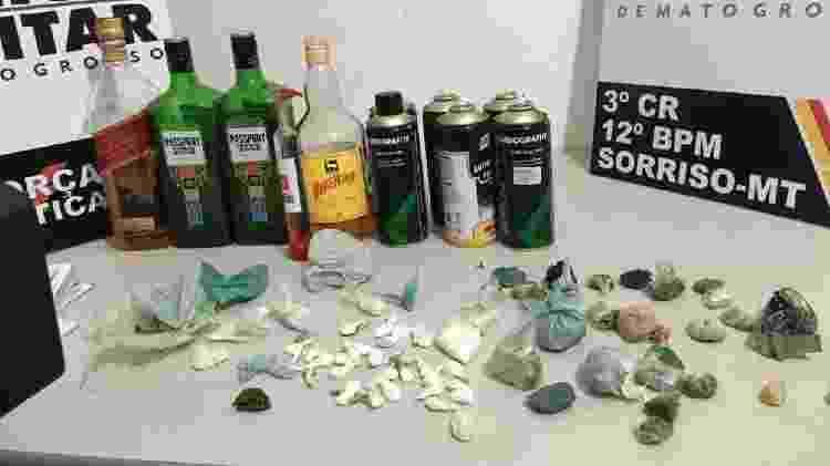 Bebidas e drogas apreendidas em casa noturna, em Sorriso (MT) - Divulgação - Divulgação