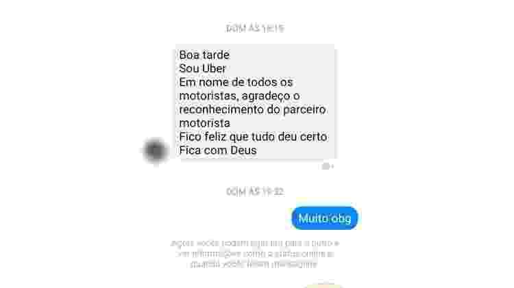 Uma das mensagens recebidas por Fernanda após a publicação viralizar - Arquivo pessoal