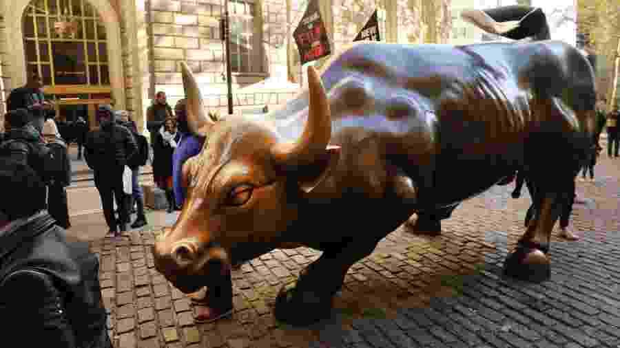 Touro de Wall Street, em Nova York - Spencer Platt/Getty Images/AFP