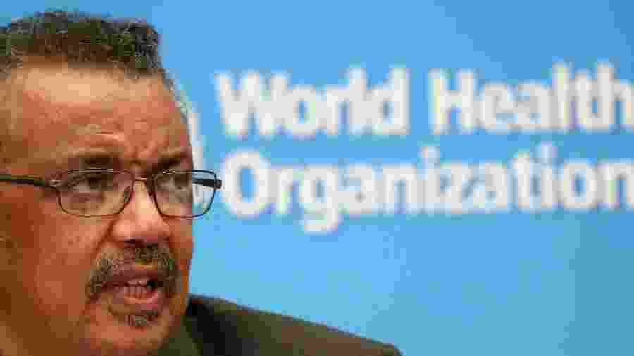 Diretor-geral da OMS, Tedros Adhanom, durante entrevista coletiva em Genebra -