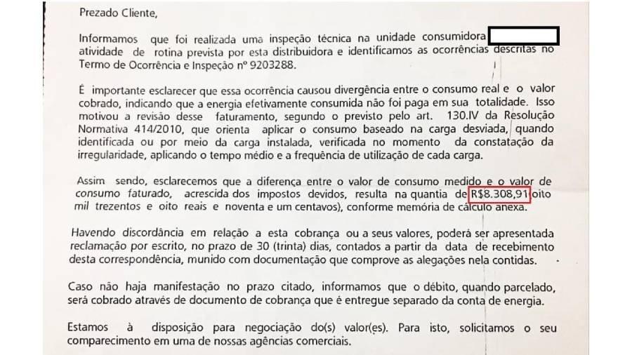 Moradores do Rio receberam cobrança de multa da Light - Reprodução