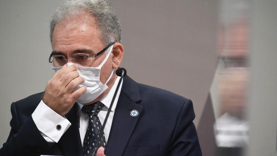 18.ago.2021 - O ministro da Saúde Marcelo Queiroga declarou ser contra o uso obrigatório de máscaras no Brasil - Jefferson Rudy/Agência Senado