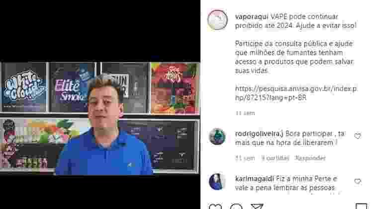 Alexandre Hazard, do siteVapor Aqui, chama usuários para participar de consulta pública da Anvisa sobre cigarros eletrônicos - Reprodução/Instagram - Reprodução/Instagram