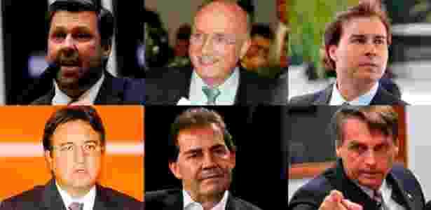 Da esq. para a dir. e de cima para baixo: Sampaio, Serraglio, Maia, Forte, Paulinho e Bolsonaro são alguns dos integrantes da comissão alternativa - Pedro Ladeira/Folhapress