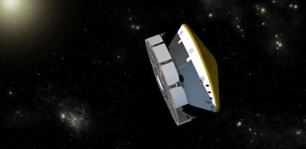 Ilustração artística do que será a sonda da Nasa viajando no espaço até Marte