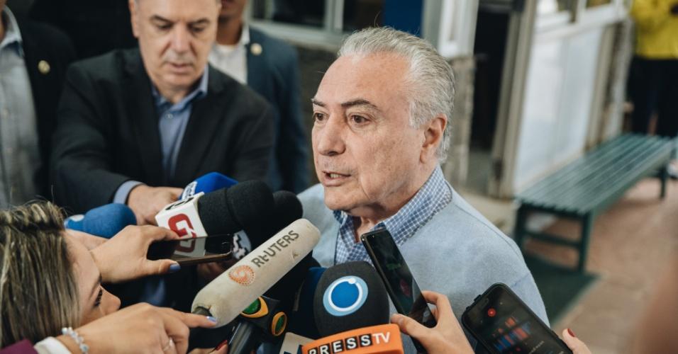 O presidente Michel Temer votou no colégio Santa Cruz, em São Paulo
