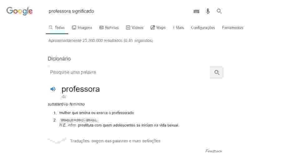 Significado de professora no Google traz uma gíria que alude à prostituição - Reprodução