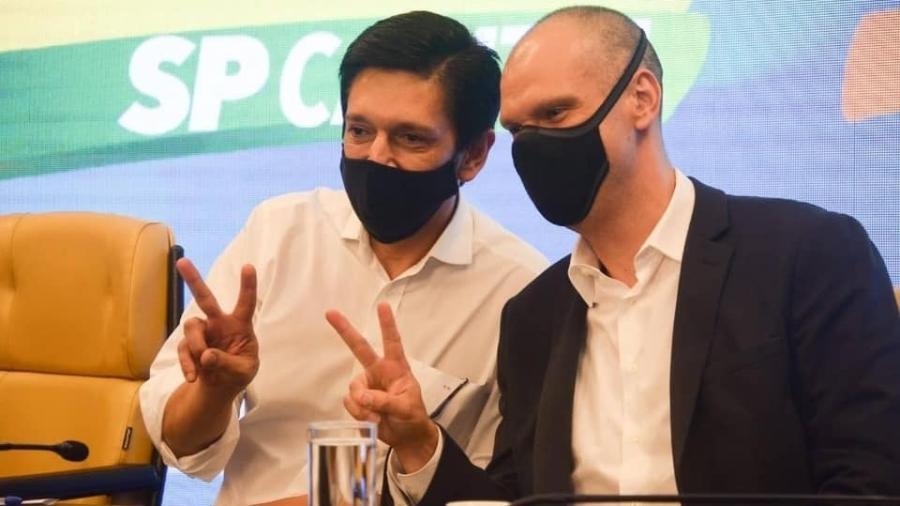 O vereador Ricardo Nunes (MDB), à esquerda de Bruno Covas (PSDB); Nunes é vice na chapa encabeçada pelo atual prefeito de São Paulo, candidato à reeleição - 11.set.2020 - Reprodução/Facebook/ricardonunes.sp