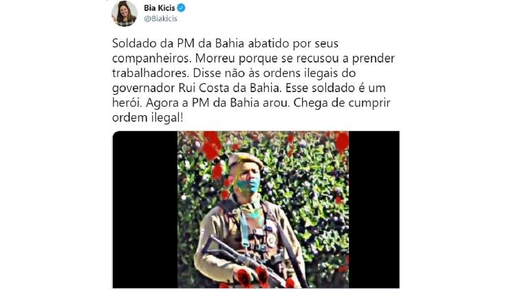 Tuíte de Bia Kicis - Reprodução/Twitter - Reprodução/Twitter