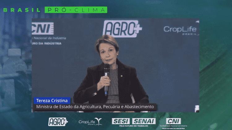 'Precisamos apresentar o verdadeiro agro brasileiro ao mundo', disse a ministra Tereza Cristina - Reprodução/Youtube - Reprodução/Youtube