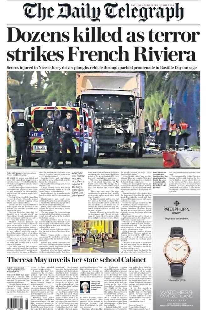"""Terrou atinge a Riviera Francesa"", destaca o jornal britânico The Daily Telegraph"