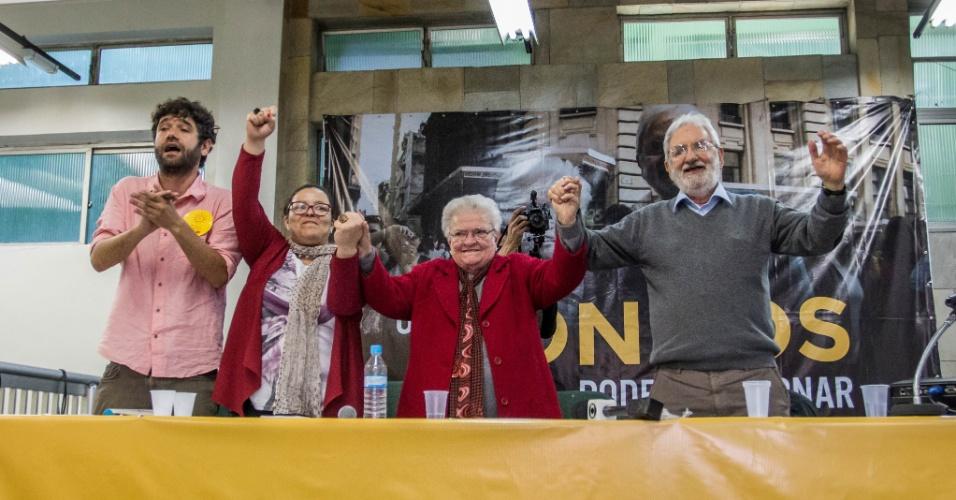24.jul.2016 - O Partido Socialismo e Liberdade (PSOL) oficializou a candidatura da deputada federal Luiza Erundina (PSOL-SP), ao centro, nas eleições para prefeito de São Paulo