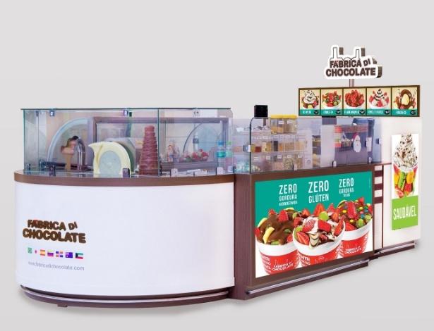 Quiosque da franquia Fábrica Di Chocolate, que faz fondue