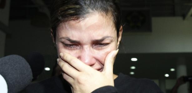 10.out.2017 - Danúbia Rangel foi presa ao deixar o apartamento de uma amiga na Ilha do Governador