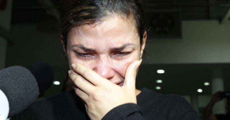 10.out.2017 - Danúbia Rangel, mulher do traficante Antônio Bonfim Lopes, o Nem da Rocinha, foi presa nesta terça-feira (10) na Ilha do Governador, Zona Norte do Rio. A prisão foi feita por agentes da 39ª DP (Pavuna) e 52ª DP (Nova Iguaçu). Ela foi levada no fim de tarde para a Cidade da Polícia, também na Zona Norte do Rio