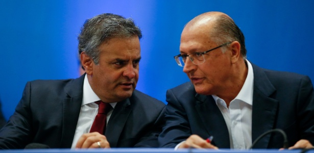 Aécio Neves (MG) e Geraldo Alckmin (SP) juntos em evento do PSDB em 2016