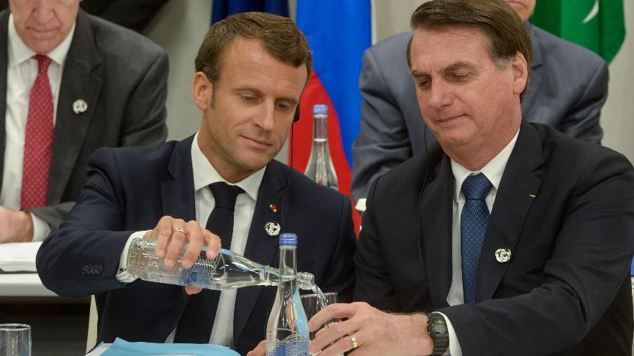 Presidente do Brasil, Jair Bolsonaro ao lado do presidente da França, Emmanuel Macron durante reunião do G20 - Frederico Mellado / ARG