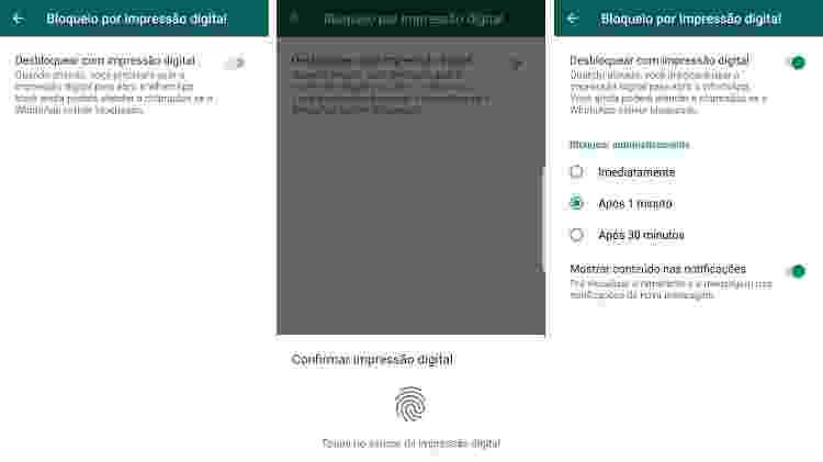Bloqueio por digital no WhatsApp de Android - Reprodução - Reprodução