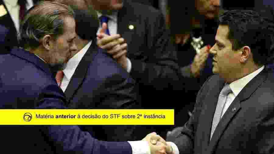Os presidentes do STF, ministro Dias Toffoli, e do Congresso, senador Davi Alcolumbre (DEM-AP), se cumprimentam - Pedro Ladeira - 4.fev.2019/Folhapress/Arte/UOL