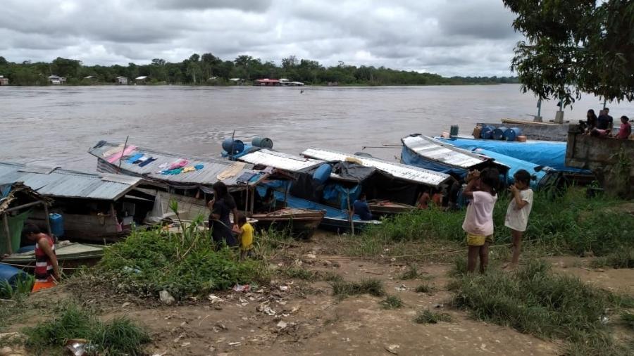 Canoas utilizadas de terra indígena até Atalaia do Norte (AM) - Jorge Marubo/Divulgação/DSEI Vale do Javari