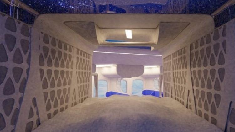 No interior da cápsula, haverá monitores de entretenimento, tomadas, mesinha e encosto inflável - Divulgação