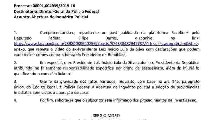 Sergio Moro pede que PF investigue Lula, mas não cita Lei de Segurança Nacional. Isso não quer dizer que Moro ignorasse o que fazia a PF - reprodução