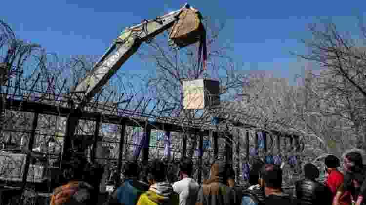 Grécia colocou blocos de concreto na fronteira de Kastanies para impedir travessia de migrantes - Getty Images - Getty Images