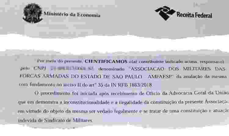 Receita anula CNPJ de associação de militares - Arte/UOL - Arte/UOL