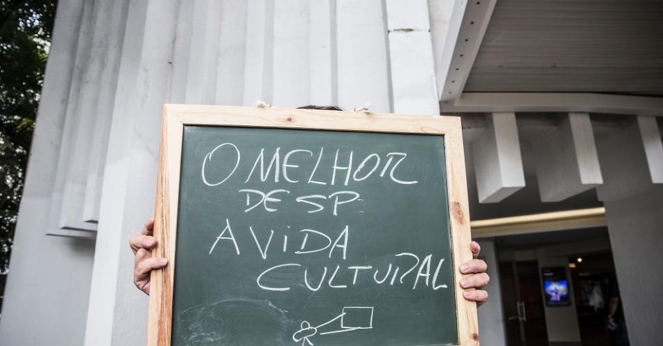 """""""São Paulo tem um cardápio muito amplo para vida cultural. É uma cidade cheia de cinemas, teatros, comida, moda. Temos de tudo para todos os gostos""""."""