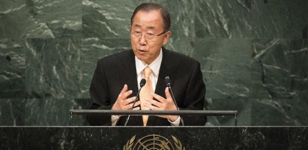 O secretário-geral da ONU, Ban Ki-moon discursa na Assmbleia-Geral da ONU, em Nova York (EUA)