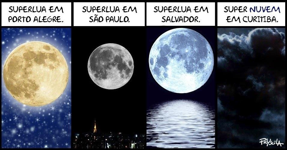 """17.nov.2016 - Maior superlua dos últimos 68 anos fez história no céu das cidades. Menos em Curitiba, que teve uma """"supernuvem"""" histórica (para variar)"""