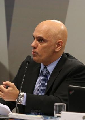 O ministro licenciado da Justiça, Alexandre de Moraes, no plenário da Comissão de Constituição e Justiça (CCJ) durante sabatina no Senado - André Dusek/Estadão Conteúdo
