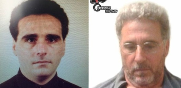 Rocco Morabito, chefe da 'Ndrangheta calabresa, foi detido em Montevidéu; à dir., logo após a captura