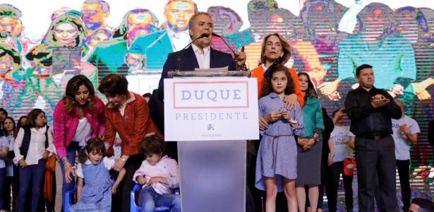 Iván Duque, presidente eleito da Colômbia, discursa para apoiadores após vitória - Nacho Doce/Reuters