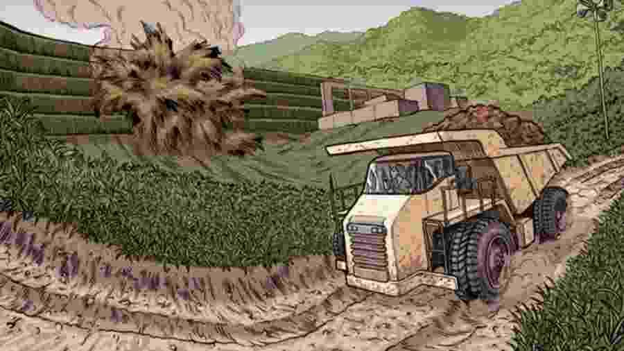 Ana Paula da Silva Mota, de 30 anos, dirigia um caminhão de minério em uma estrada a apenas 550 metros da barragem quando ocorreu o rompimento - Vitor Flynn/BBC News Brasil
