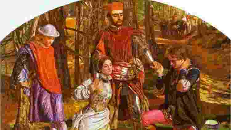 "Siddal também posou para o pintor William Holman Hunt, para ""Valentine Rescuing Sylvia from Proteus"" (1851) - Alamy"