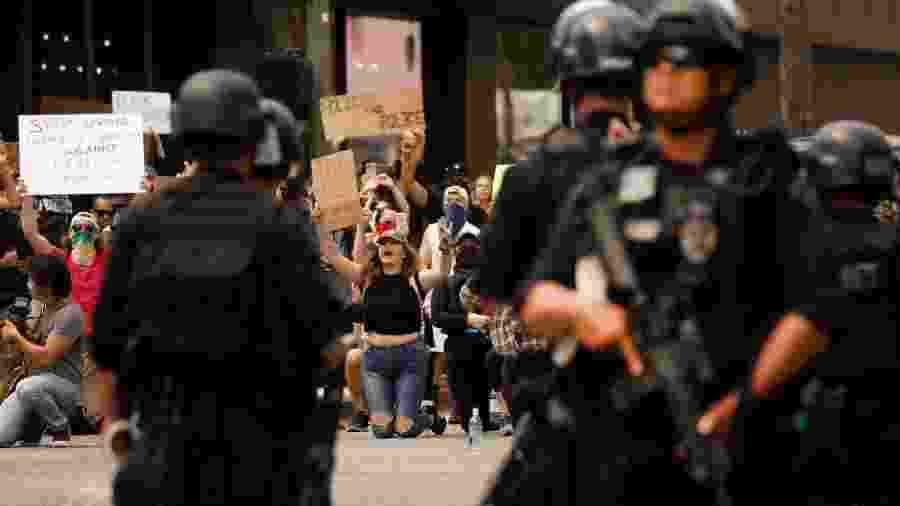 A redução do orçamento da polícia é uma das demandas dos protestos antirracistas após a morte do afro-americano George Floyd - Getty Images