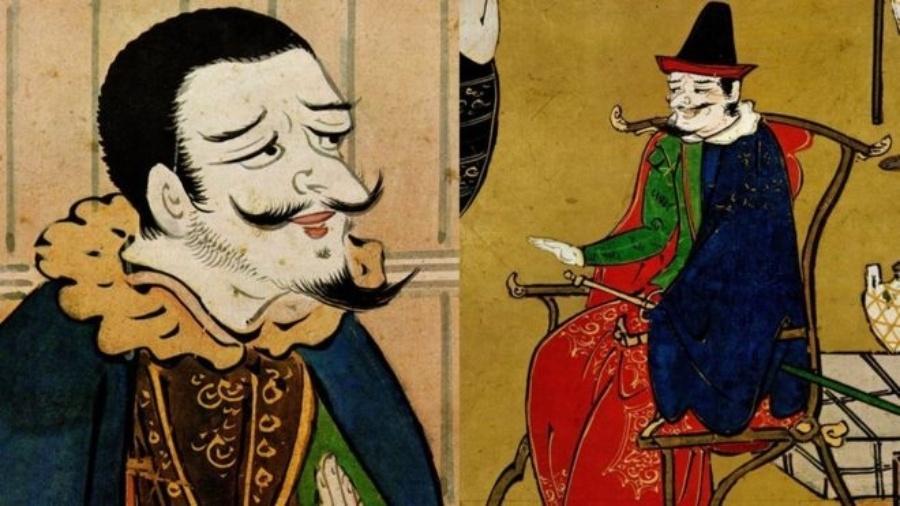 Ilustração de portugueses que atuavam no Japão, capitães de barcos de escravos - Arquivo Lúcio de Sousa
