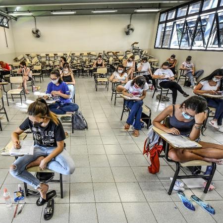 7.jan.2021 - Candidatos fazem prova no segundo dia do vestibular da 1ª fase da Unicamp em 2021 - Lucas Lacaz Ruiz/Estadão Conteúdo