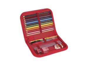 Kit Estojo com Lápis de Cor 12 Cores, 2 canetas esferográficas, Lápis, Régua, Apontador e Borracha Faber-Castell - Amazon - Amazon